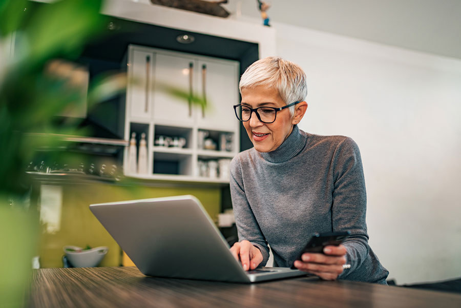 A professional woman participating in a webinar